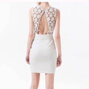 Zara Basic Guipure Off White Lace Open Back Dress